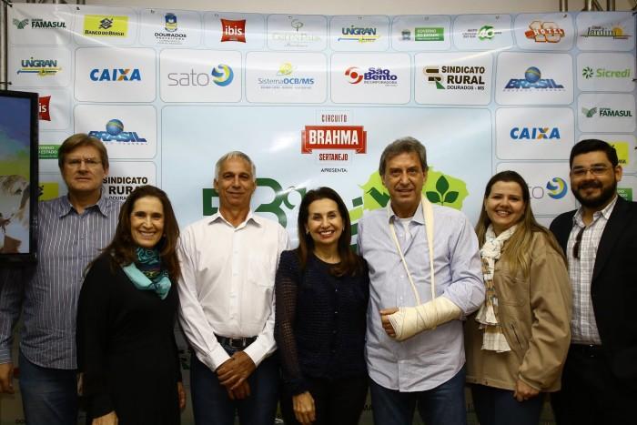 Diretores da Aced e do Sindicato Rural de Dourados em coletiva que anunciou atrações da Expoagro e Exposhopping.  (Foto: A.Frota).
