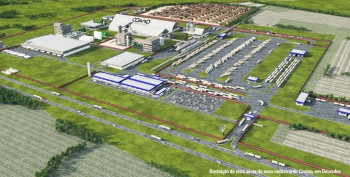 Projeto da indústria da Coamo que será instalada em Dourados a partir de agosto. (Imagem: Divulgação).