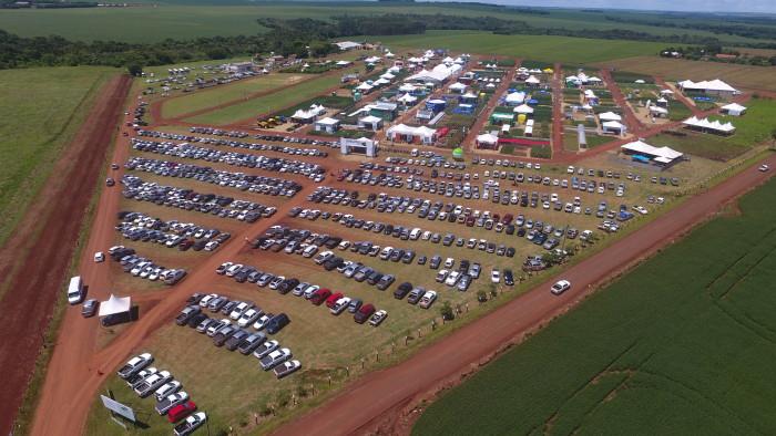 Vista aérea do Showtec em 2016; evento é um dos principais de tecnologia em MS. (Foto: Divulgação).
