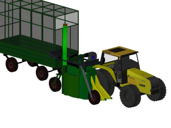 Protótipo de unidade de colheita adaptada e acoplada a um trator com reboque para armazenar o algodão. (Imagem: Embrapa).