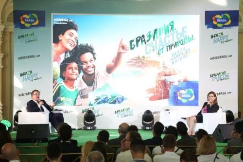 Na sede do Mundial de 2018, ações visaram promover o Brasil ao longo do torneio para turistas russos e de todas as partes do mundo. (Foto: Divulgação).