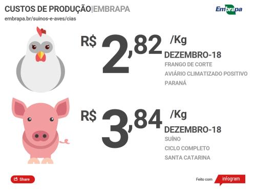O custo por quilo vivo de suíno produzido em sistema de ciclo completo em Santa Catarina caiu para R$ 3,84 em dezembro (o menor valor desde março de 2018). (Foto: Divulgação).