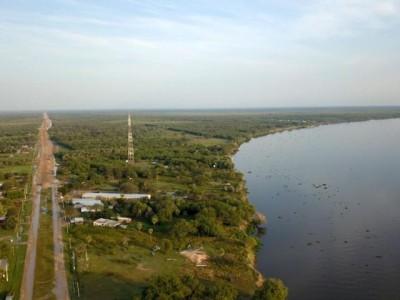 Imagem aérea do local onde será construída a ponte. (Foto: Divulgação)